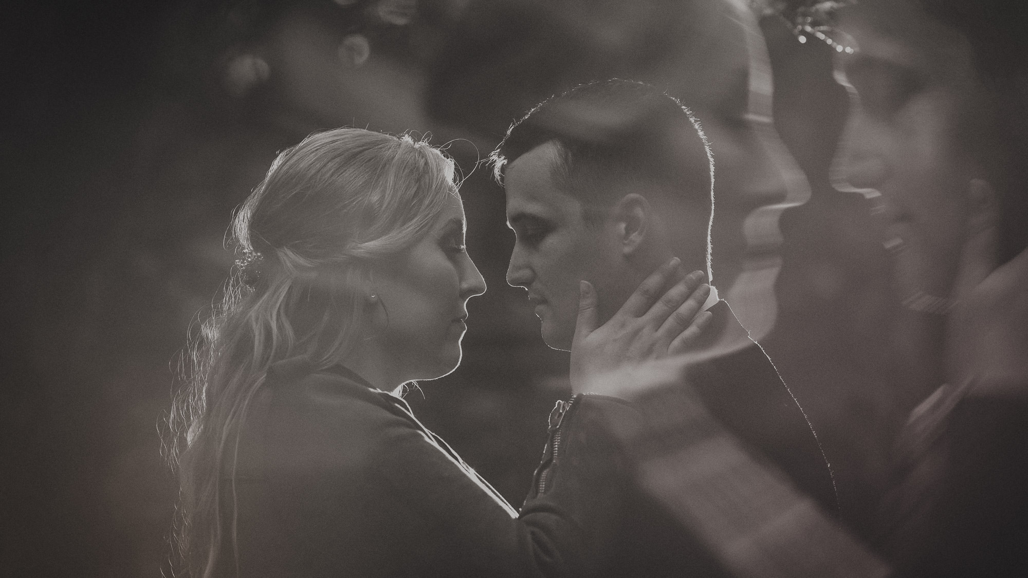 bride and groom closeup double exposure black and white