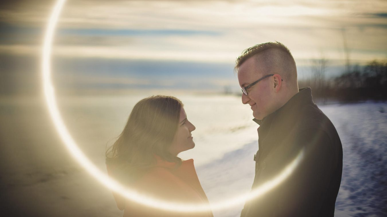 wedding gallery photo ring of fire couple on winter beach