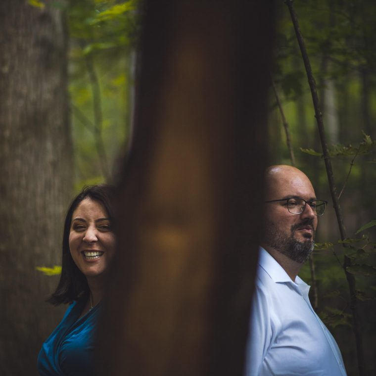 Newmarket engagement session with man and woman in forest