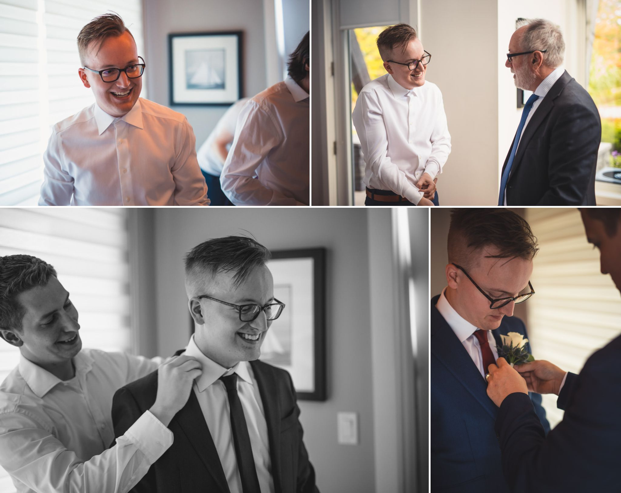 Collage of groom getting ready for wedding at Muskoka Bay Resort