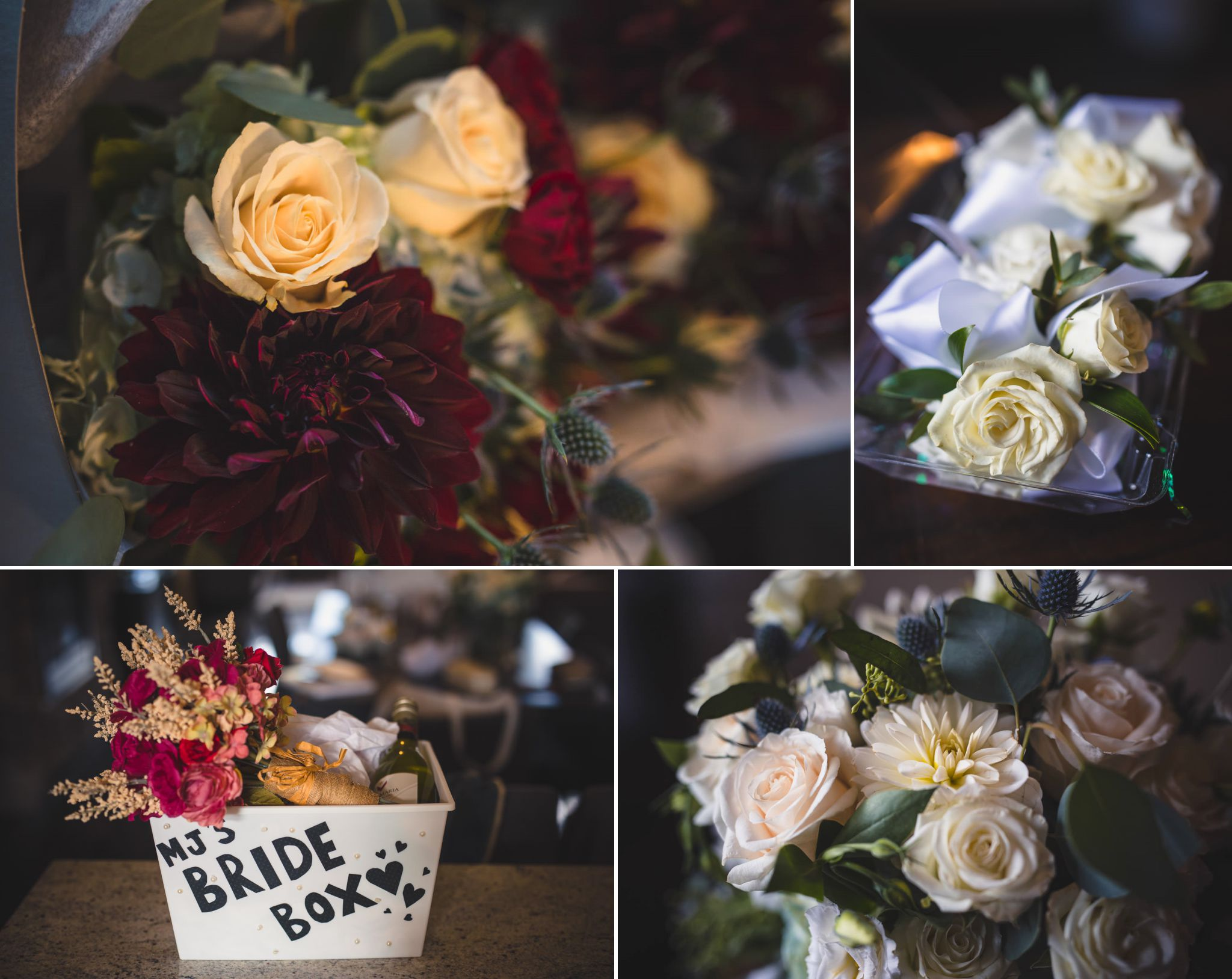 Collage of bridal flowers