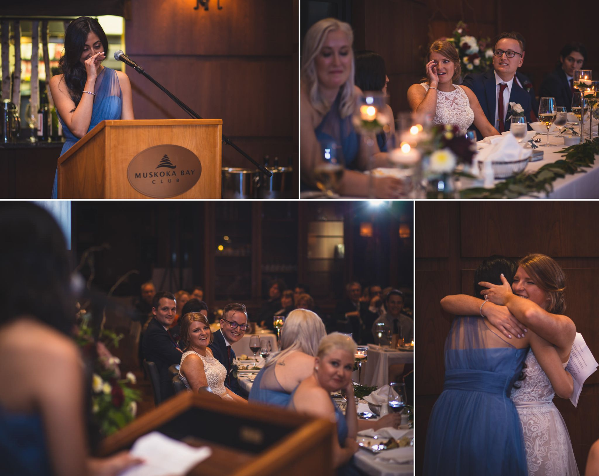 Collage of guest reactions at wedding at the Muskoka Bay Resort