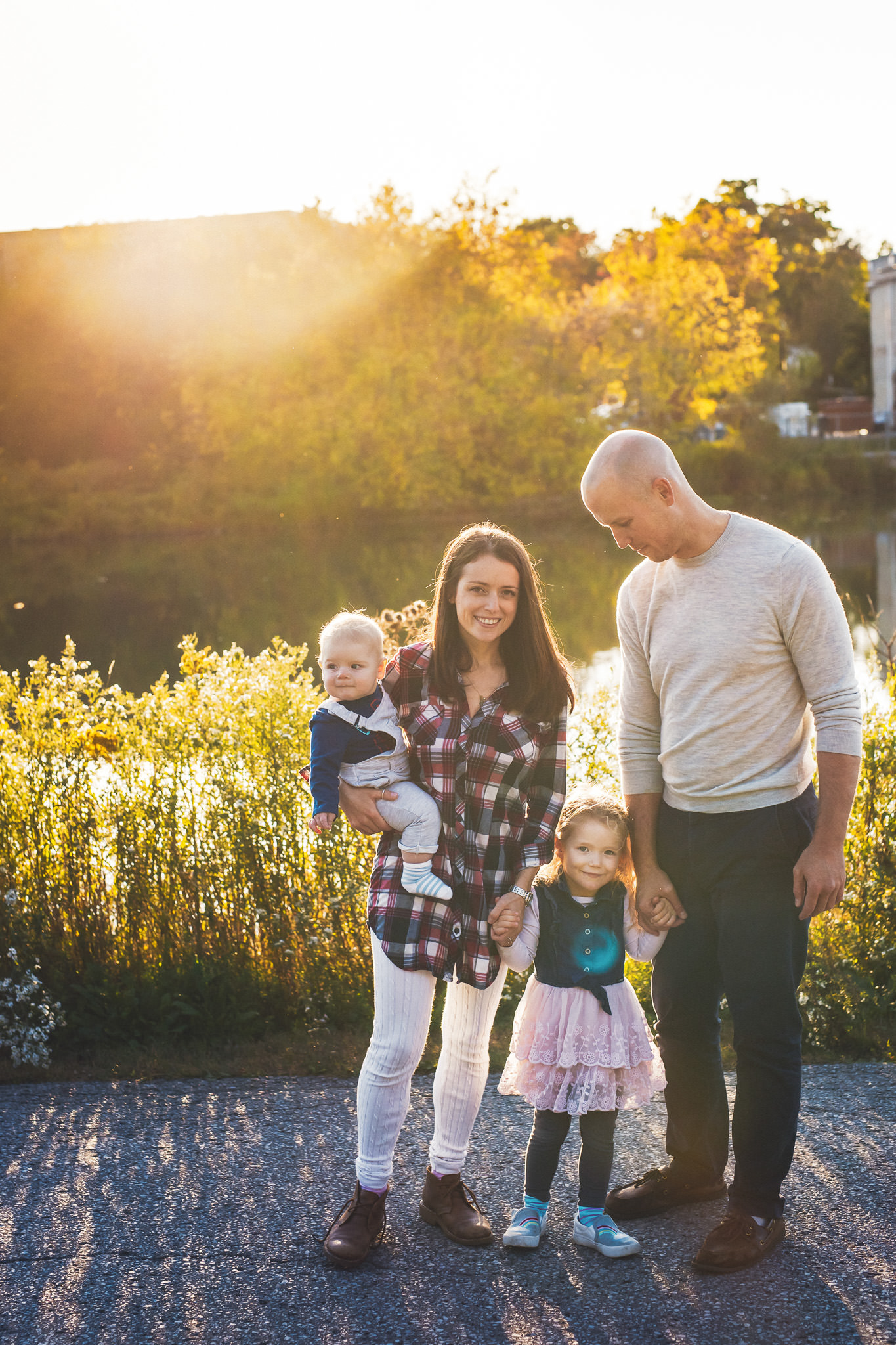 Family photography with young children with beautiful sunset