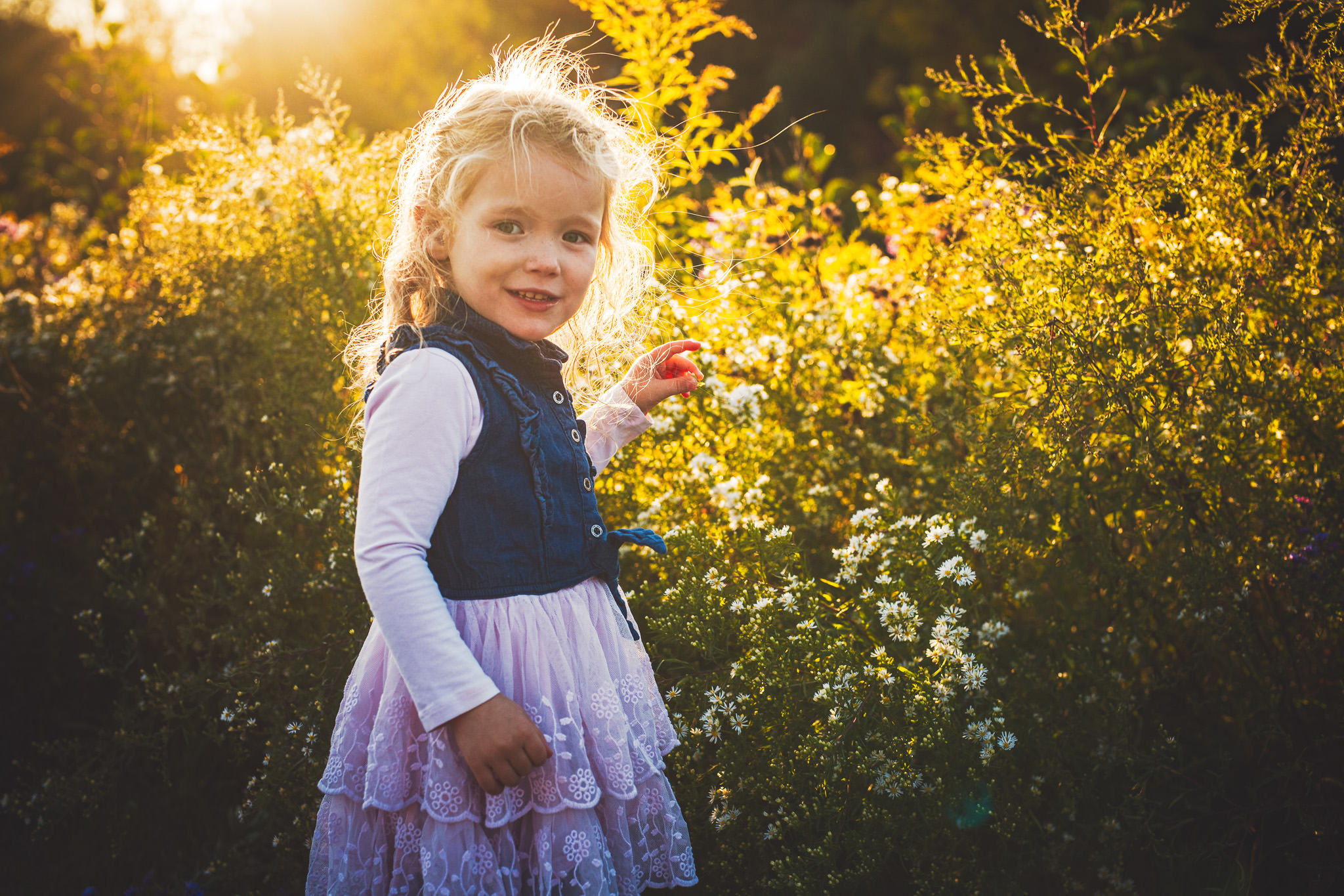 Family photography young girl picks flowers