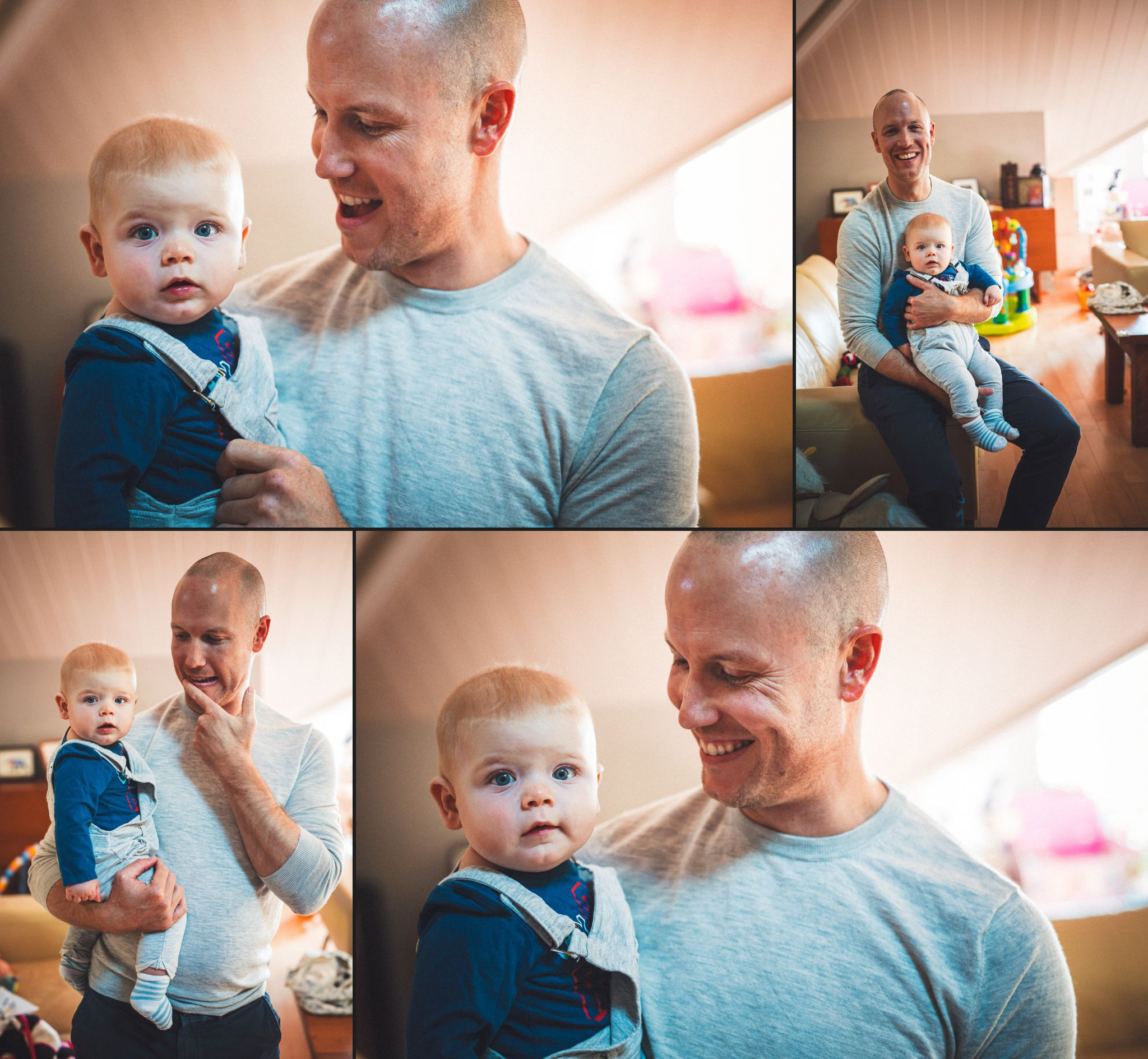 Collage of father with newborn son
