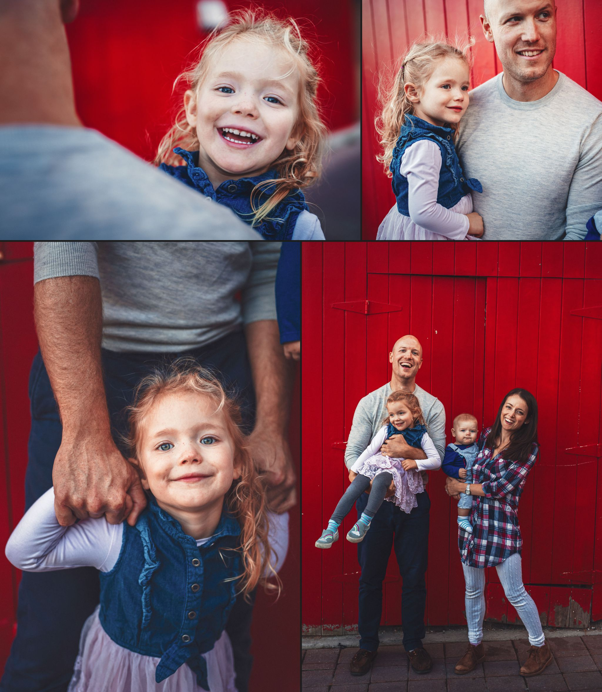 Collage of parents holding kids in front of red wall